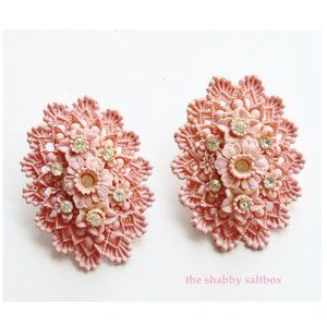 Earrings Vintage Pink Lace Oval Custome Jewelry